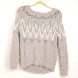 Lauren Conrad Gray Nordic Fuzzy Sweater